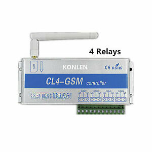 4 Relay of GSM Controller SMS Call Remote Control Switch ON OFF Garage Door Gate