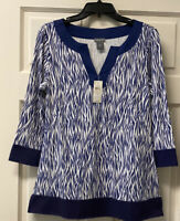 NWT Ann Taylor Womens M V Neck 3/4 Sleeve Blue White Contrast Trim Tunic Top