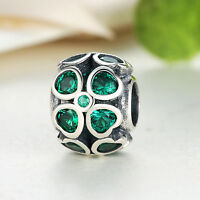 Green Lucky Leaf Dark Green CZ Charm SOLID 925 Sterling Silver Crystal Bead
