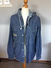 LADIES  HOODED CASUAL BLUE JEAN STYLE TOP SIZE M 12-14-16 UK
