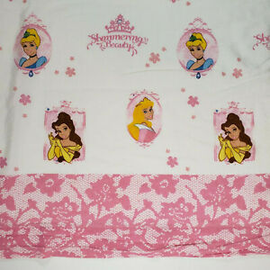 Disney Princesses Twin Flat Bed Sheet Shimmering Beauty Pink White