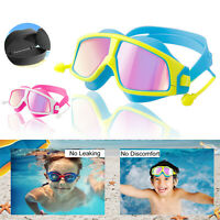 For Kids Children Swimming Goggles Anti-Fog/UV Swim Glasses Swim Pool w Earplugs