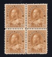 Canada Sc #118b (1925) 10c Yellow Brown Admiral Dry Block VF NH