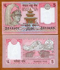 Nepal, 5 Rupees, ND (1987-), P-30 (30a), Sign. 13 UNC > King Birendra, Yak