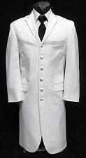 36 S Mens White LONG Tuxedo Jacket Duster Frock Coat Victorian Steampunk Formal
