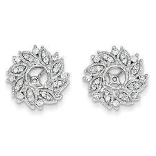 14k White Gold Pave Diamond 0.60ct G/SI1 Flower Earring Jacket For Stud Earring