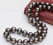 "HUGE 18""11-12MM NATURAL Tahitian genuine black redish round pearl necklace 14k"