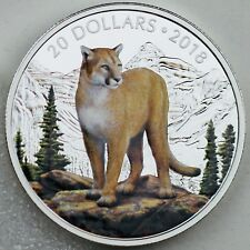 2018 $20 Majestic Wildlife: Courageous Cougar 1 oz Pure Silver Color Proof Coin