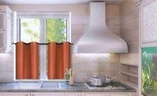 2PC SET SOLID FAUX SILK LINED KITCHEN WINDOW CURTAIN GROMMET TIER PANELS D24 NEW