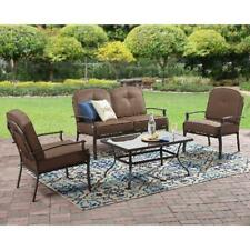 Mainstays Wentworth 4-Piece Metal Patio Furniture Conversation Set, with Cushion