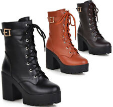 Womens High Heels Shoes Army Military Chunky Cleated Platforms Ankle Boots New