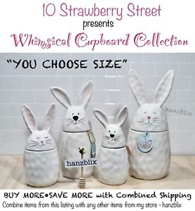 """10 Strawberry Street Bunny Canister Dimpled Ceramic Easter """"YOU CHOOSE""""NEW'20-21"""