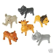 12 Mini Plastic Zoo Safari Animal Figures Toy Party Goody Loot Bag Favor Supply