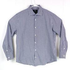 Jake Spade Mens sz 16 32/33 Navy White Plaid Button Down Long Sleeve Dress Shirt
