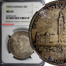 Canada George VI Silver 1939 $1.00 Dollar NGC MS63 NICE TONED Royal Visit KM# 38