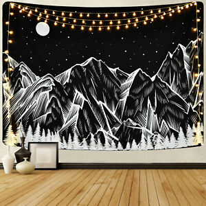 Abstract Hippie Mountain and Moon Tapestry Art Room Wall Hanging Throw Tapestry