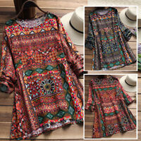 Women Cotton Ethnic Long Shirt Tops Floral Print Oversize Tunics Blouse Plus New