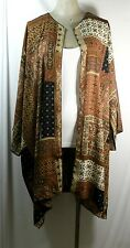 Plus size kimono cardigan,brown/earth,quilt pattern,chiffon,size 2X-4X,handmade