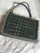 ZARA Black Chain Detail Croc Print Leather Bag