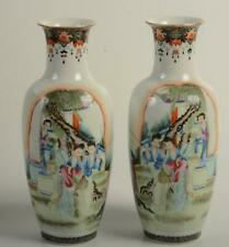 RARE Antique Chinese Republic Period Porcelain Vase Pair Qianlong Famille Rose