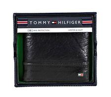 New Tommy Hilfiger Men's Black Rfid Leather Hipster Bifold Credit Card Wallet