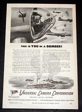 1944 OLD MAGAZINE PRINT AD, UNIVERSAL CAMERA, THIS IS YOU IN A BOMBER, ART WORK!