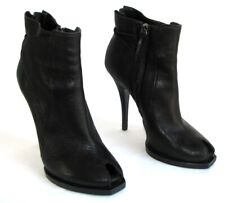 GIVENCHY Bottines talons 12.5 cm bouts ouverts cuir noir 40 / 950 € T. BON ETAT
