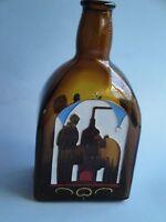 Hand Painted Liquor Bottle Empty Anton Riemerschmid Munchen Etched Brown Amber