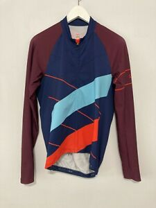 Rapha M Long Sleeve Cross Jersey Wide Stripe Red Blue Navy Maroon Cycling
