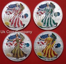 2002 dólar americano Silver Eagle 1 OZ (approx. 28.35 g) Conjunto de 4 monedas en cápsulas