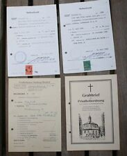 2 x Sterbeurkunde Gebühren Marke Stadt Hamburg 1969 Stempel Grabbrief Rechnung