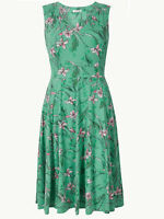 NEW LADIES FLORAL PRINTED WAISTED MIDI DRESS MARKS & SPENCER SIZES 6 - 18