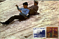 Snow Sport Children Kinder beim Rodeln Mount Hermon Israel Postkarte Frankatur