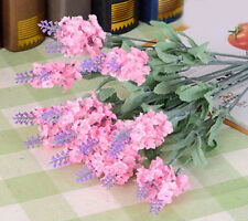 Charming 10 Heads Pink Fabric Artifical Lavender Flower Wedding Party Home Decor