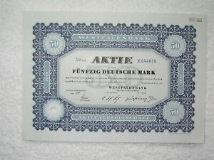 Westfalenbank-Aktie 50 DM entwertet klassisch-blau und besonders schön
