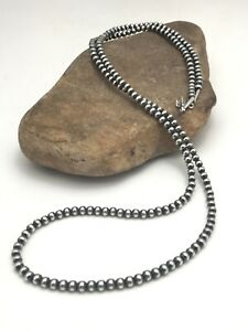 """Stunning! Native American Navajo Pearls 5 mm Sterling Silver Bead Necklace 36"""""""