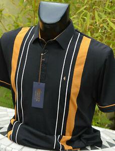 Gabicci Short Sleeved Classic Polo in Black/Ocre - Sizes Medium to XXL
