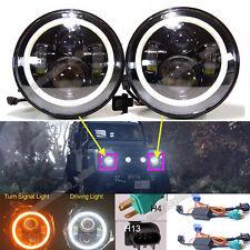 For Land Rover Defender 90 110 LED Halo Angel Eyes DRL Headlight H4-H13 H/L Beam