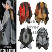 Womens Ladies Celeb Inspired Woolly Check Cape Poncho Wrap Cardigan Shawl Top
