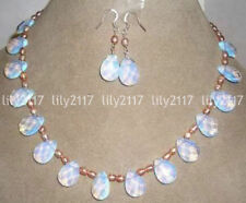 Pink pearl / Sri Lanka Moonstone Drops Pendant Necklace Earrings Jewelry Set