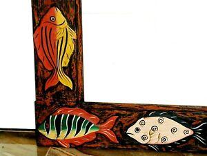 VINTAGE Hand Carved & Painted Fish Expressionist WOOD FRAME Vivid Colors SUPERB!