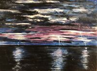 "Beautiful ""When Lightning Strikes"", Art Original Canvas Painting"