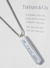 Tiffany & Co 1837 Sterling Silver Mens Bar Charm Snake Chain Necklace