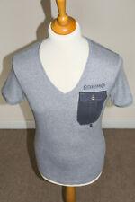 G Star Raw Mens Short Sleeve V-Neck Cotton Pocket T-Shirt Top Grey - Size Small