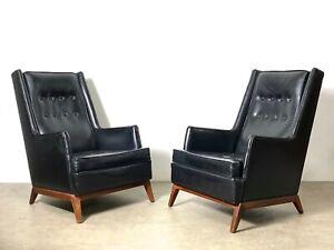 Vintage Mid Century Modern Pair Robsjohn Gibbings Widdicomb Lounge Chairs Black