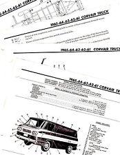 1961 1962 1963 1964 1965 CHEVROLET CORVAIR TRUCK MOTORS FRAME CRASH SHEETS MORIG