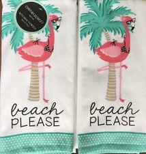 Cynthia Rowley Kitchen Hand Towels Set Of 2 Beach Please Flamingo New Summer