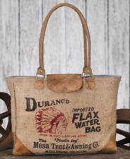 Vintage Durango Water Leather and Woven Burlap Tote Bag Pocketbook HandBag Purse