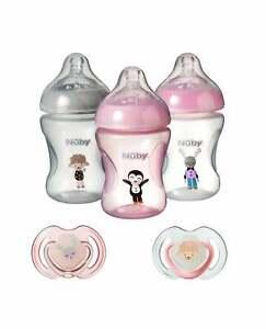 Nuby Baby Bottle Decorated Anti-Colic & Dummy Gift Packs Blue Boys / Pink Girls