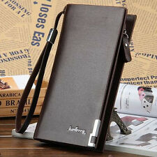 Men's Leather Long Wallet Bifold ID Card Holder Purse Checkbook Clutch Billfold